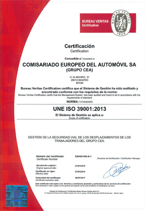 Certificación de la norma ISO 39001 de seguridad vial CEA