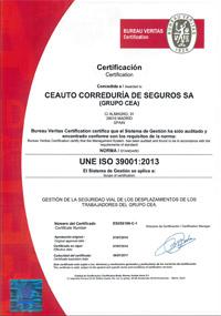 Certificación de la norma ISO 39001 de seguridad vial CEAUTO