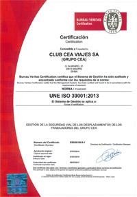Certificación de la norma ISO 39001 de seguridad vial CLUB CEA VIAJES